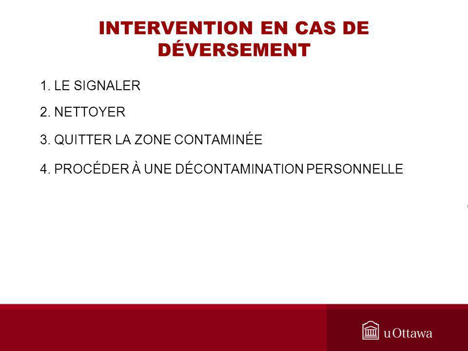 INTERVENTION EN CAS DE DÉVERSEMENT 1. LE SIGNALER 2. NETTOYER 3. QUITTER LA ZONE CONTAMINÉE 4. PROCÉDER À UNE DÉCONTAMINATION PERSONNELLE