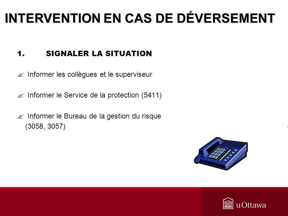 1.SIGNALER LA SITUATION Informer les collègues et le superviseur Informer le Service de la protection (5411) Informer le Bureau de la gestion du risqu