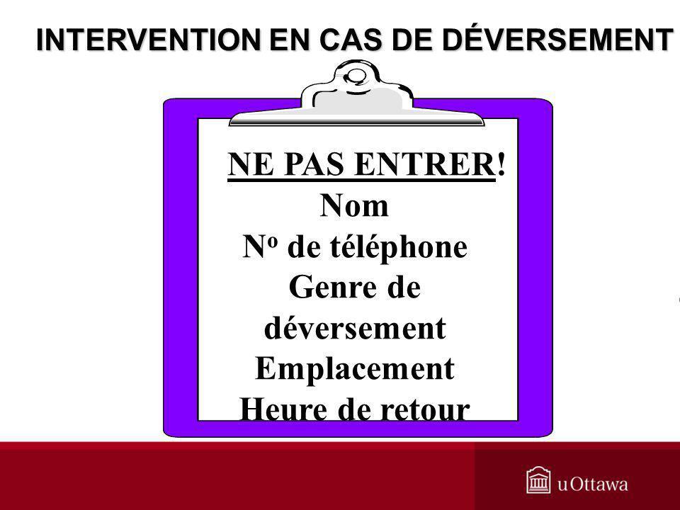 NE PAS ENTRER! Nom N o de téléphone Genre de déversement Emplacement Heure de retour INTERVENTION EN CAS DE DÉVERSEMENT
