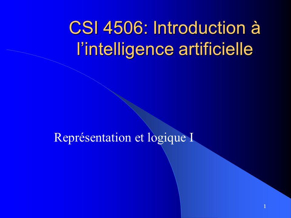 1 CSI 4506: Introduction à lintelligence artificielle Représentation et logique I