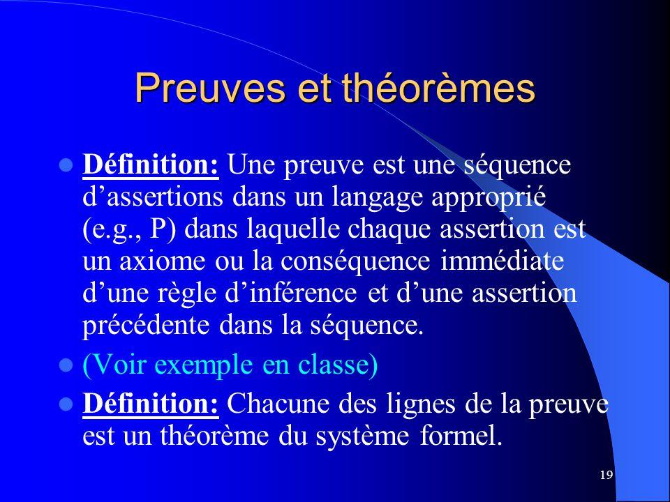 19 Preuves et théorèmes Définition: Une preuve est une séquence dassertions dans un langage approprié (e.g., P) dans laquelle chaque assertion est un