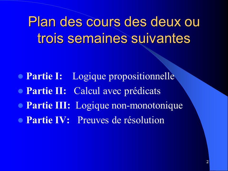 2 Plan des cours des deux ou trois semaines suivantes Partie I: Logique propositionnelle Partie II: Calcul avec prédicats Partie III: Logique non-mono