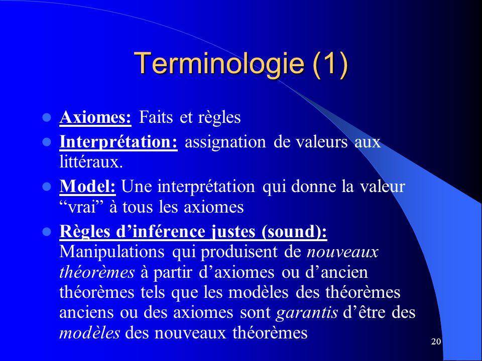 20 Terminologie (1) Axiomes: Faits et règles Interprétation: assignation de valeurs aux littéraux. Model: Une interprétation qui donne la valeur vrai