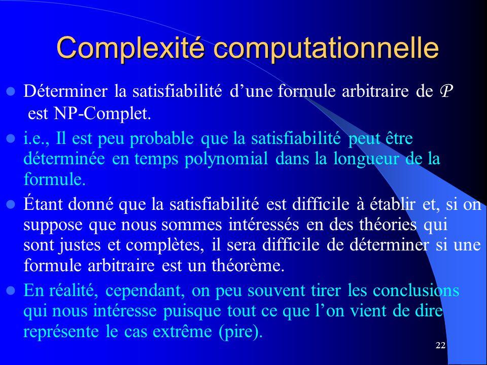 22 Complexité computationnelle Déterminer la satisfiabilité dune formule arbitraire de P est NP-Complet. i.e., Il est peu probable que la satisfiabili
