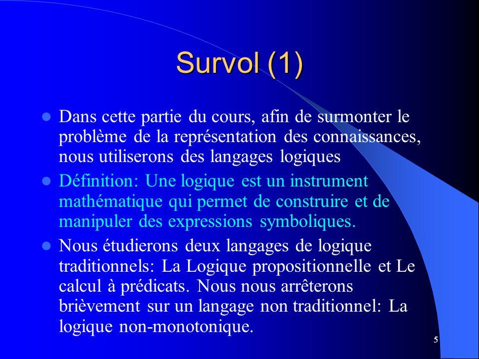 5 Survol (1) Dans cette partie du cours, afin de surmonter le problème de la représentation des connaissances, nous utiliserons des langages logiques