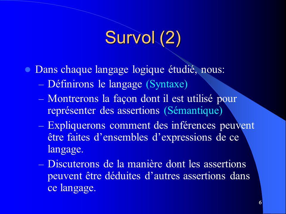 6 Survol (2) Dans chaque langage logique étudié, nous: – Définirons le langage (Syntaxe) – Montrerons la façon dont il est utilisé pour représenter de