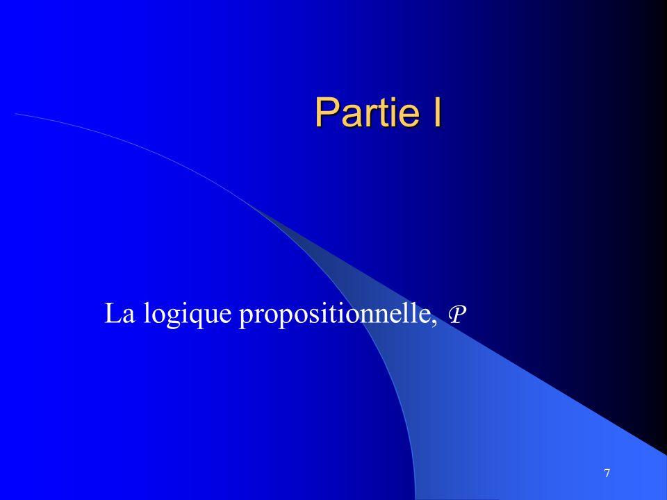7 Partie I La logique propositionnelle, P