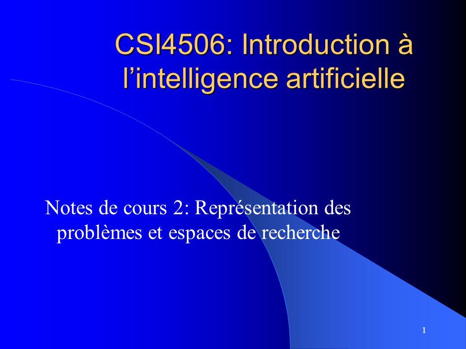 1 CSI4506: Introduction à lintelligence artificielle Notes de cours 2: Représentation des problèmes et espaces de recherche