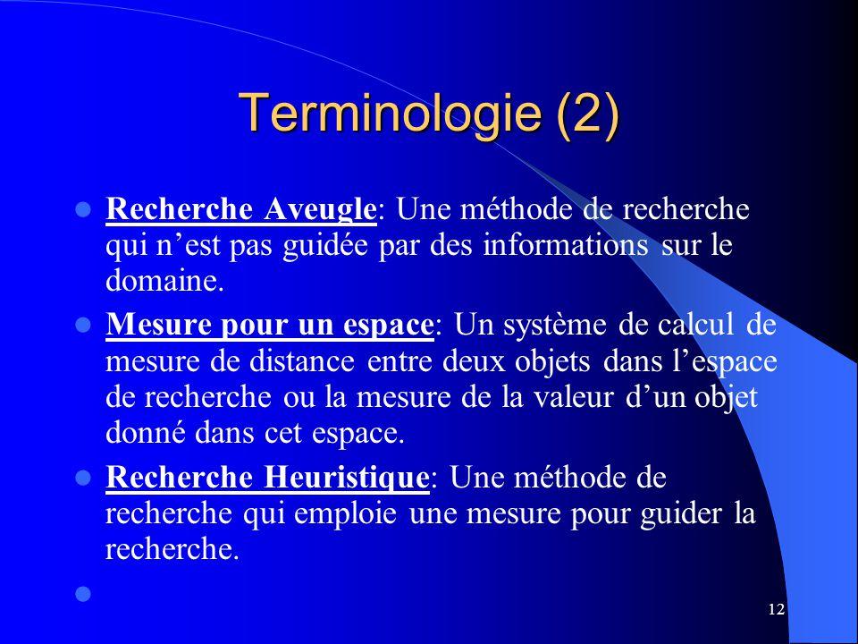 12 Terminologie (2) Recherche Aveugle: Une méthode de recherche qui nest pas guidée par des informations sur le domaine. Mesure pour un espace: Un sys