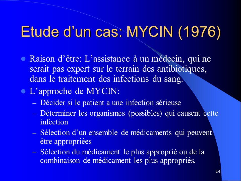 14 Etude dun cas: MYCIN (1976) Raison dêtre: Lassistance à un médecin, qui ne serait pas expert sur le terrain des antibiotiques, dans le traitement d