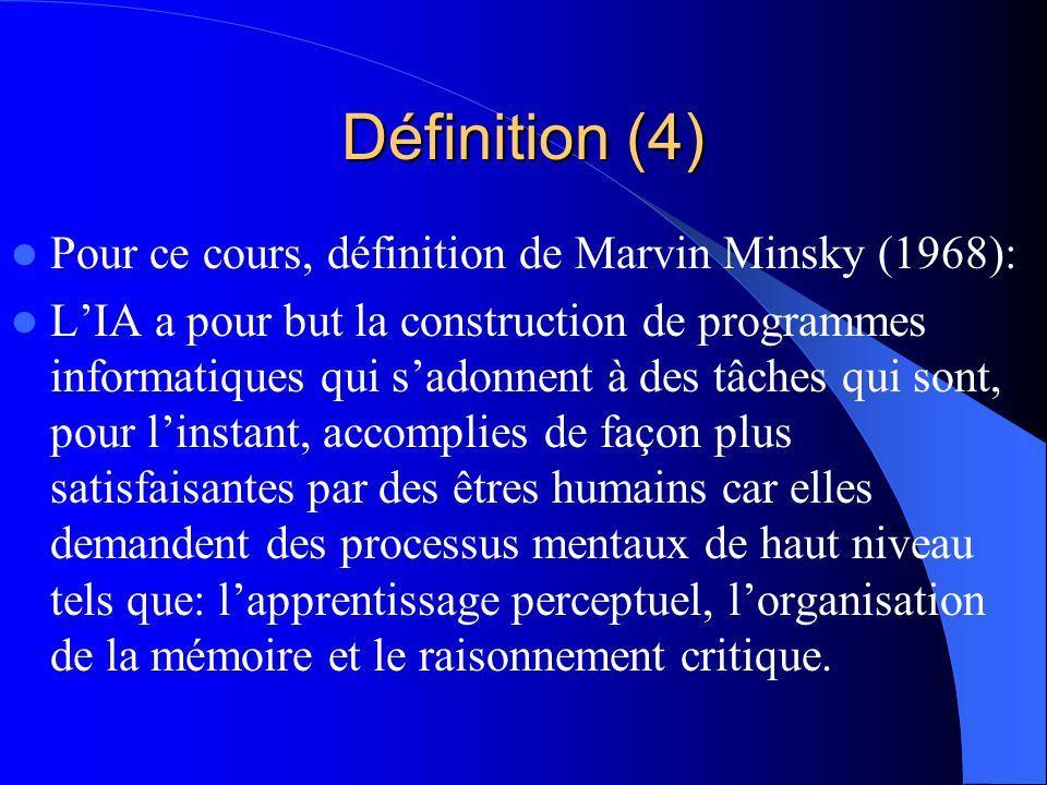 Définition (4) Pour ce cours, définition de Marvin Minsky (1968): LIA a pour but la construction de programmes informatiques qui sadonnent à des tâche