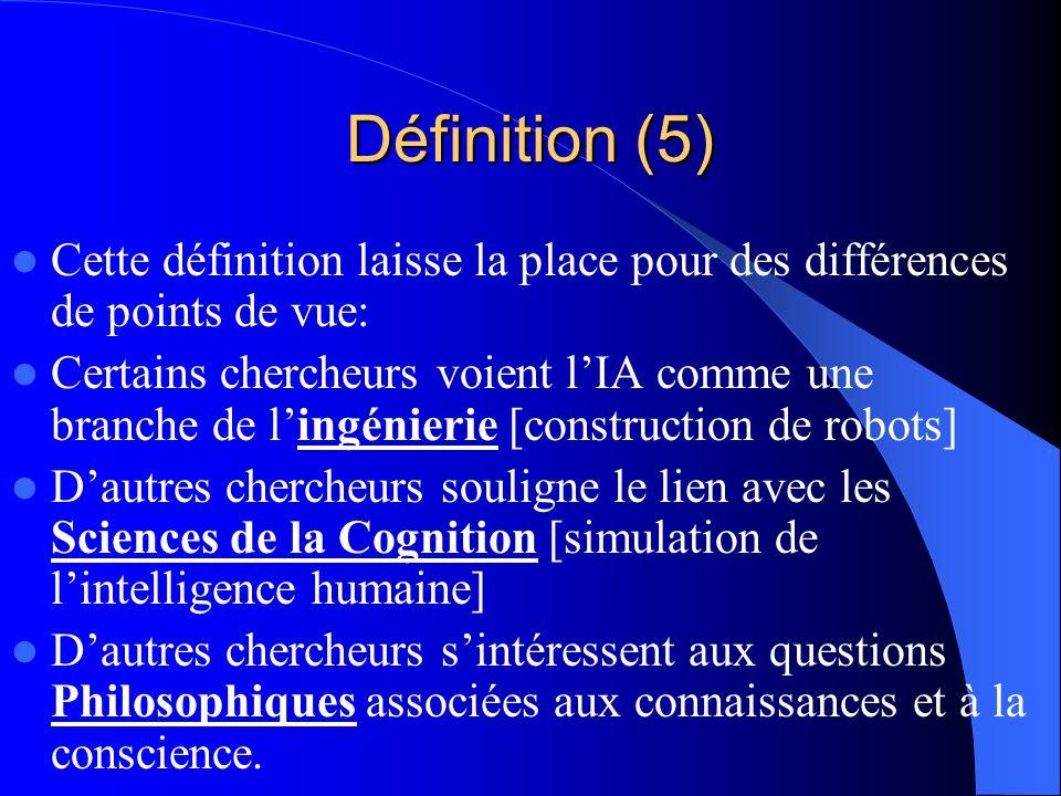Définition (5) Cette définition laisse la place pour des différences de points de vue: Certains chercheurs voient lIA comme une branche de lingénierie