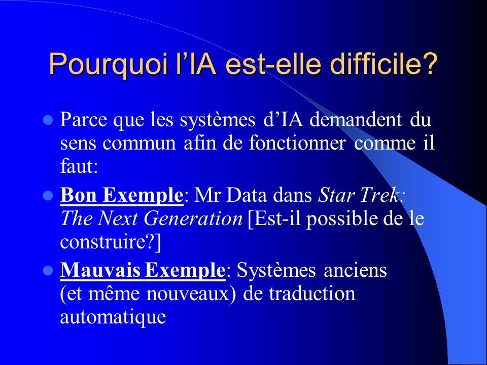 Pourquoi lIA est-elle difficile? Parce que les systèmes dIA demandent du sens commun afin de fonctionner comme il faut: Bon Exemple: Mr Data dans Star
