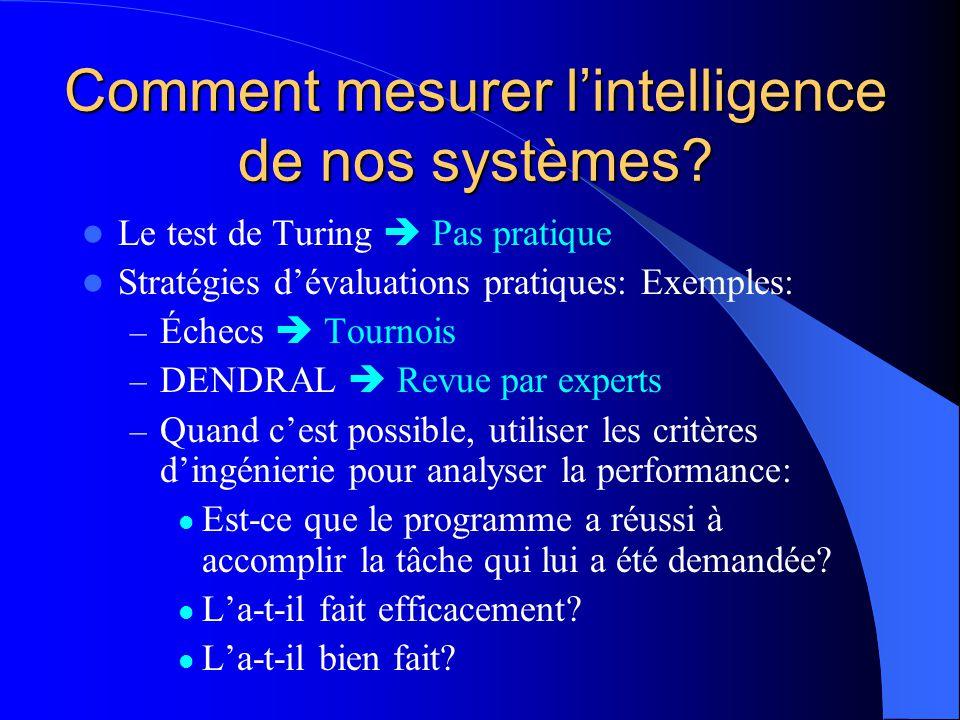 Comment mesurer lintelligence de nos systèmes? Le test de Turing Pas pratique Stratégies dévaluations pratiques: Exemples: – Échecs Tournois – DENDRAL