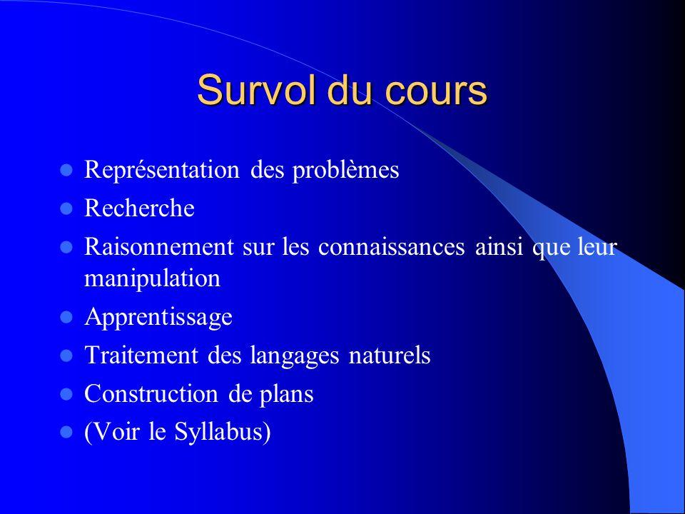 Survol du cours Représentation des problèmes Recherche Raisonnement sur les connaissances ainsi que leur manipulation Apprentissage Traitement des lan
