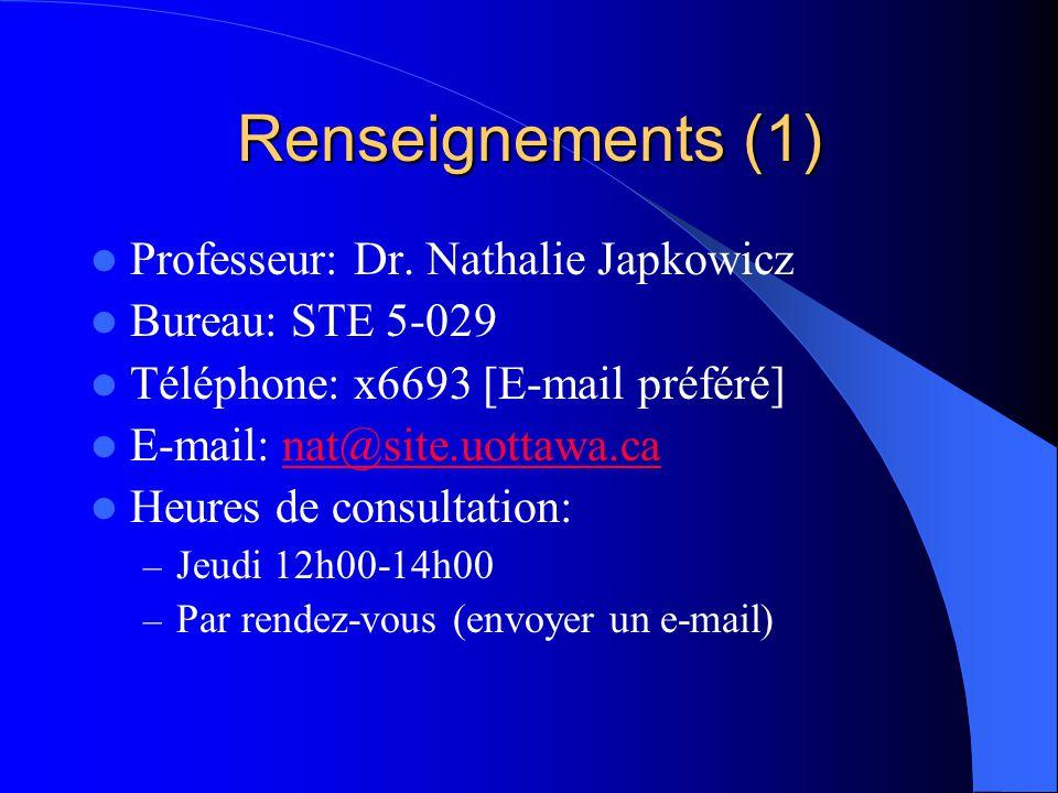 Renseignements (1) Professeur: Dr. Nathalie Japkowicz Bureau: STE 5-029 Téléphone: x6693 [E-mail préféré] E-mail: nat@site.uottawa.canat@site.uottawa.