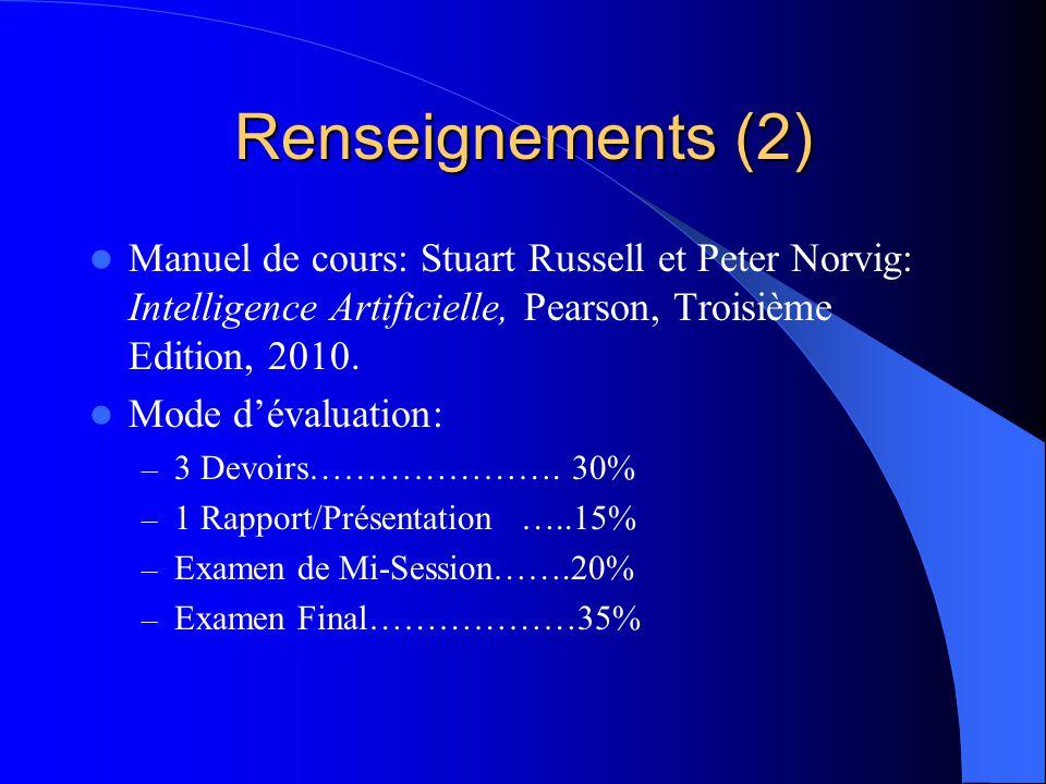 Renseignements (2) Manuel de cours: Stuart Russell et Peter Norvig: Intelligence Artificielle, Pearson, Troisième Edition, 2010. Mode dévaluation: – 3