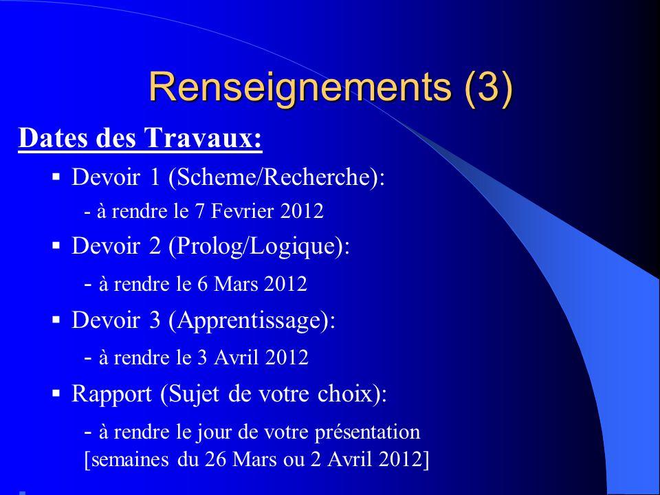 Renseignements (3) Dates des Travaux: Devoir 1 (Scheme/Recherche): - à rendre le 7 Fevrier 2012 Devoir 2 (Prolog/Logique): - à rendre le 6 Mars 2012 D