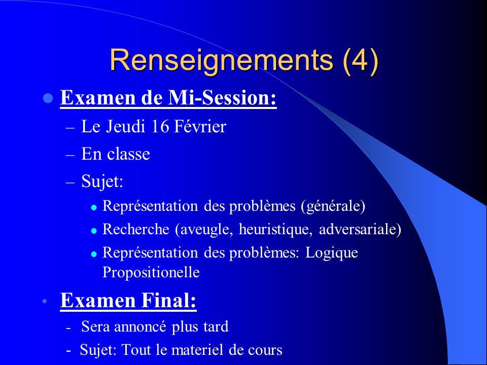 Renseignements (4) Examen de Mi-Session: – Le Jeudi 16 Février – En classe – Sujet: Représentation des problèmes (générale) Recherche (aveugle, heuris