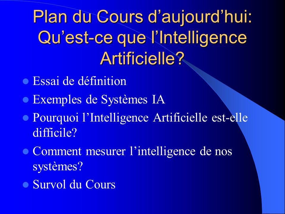 Plan du Cours daujourdhui: Quest-ce que lIntelligence Artificielle? Essai de définition Exemples de Systèmes IA Pourquoi lIntelligence Artificielle es