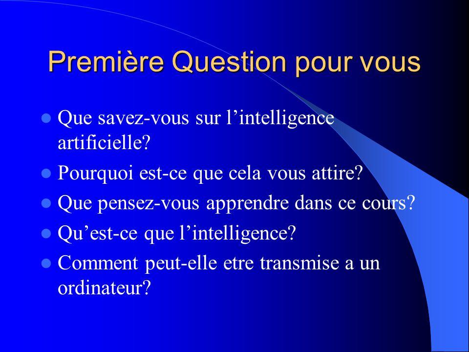 Première Question pour vous Que savez-vous sur lintelligence artificielle? Pourquoi est-ce que cela vous attire? Que pensez-vous apprendre dans ce cou