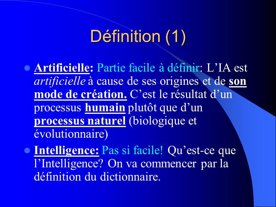 Définition (1) Artificielle: Partie facile à définir: LIA est artificielle à cause de ses origines et de son mode de création. Cest le résultat dun pr
