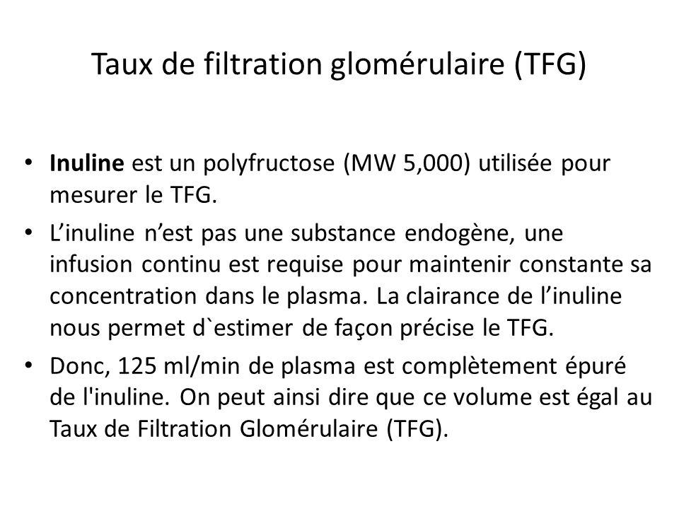 Taux de filtration glomérulaire (TFG) Inuline est un polyfructose (MW 5,000) utilisée pour mesurer le TFG. Linuline nest pas une substance endogène, u