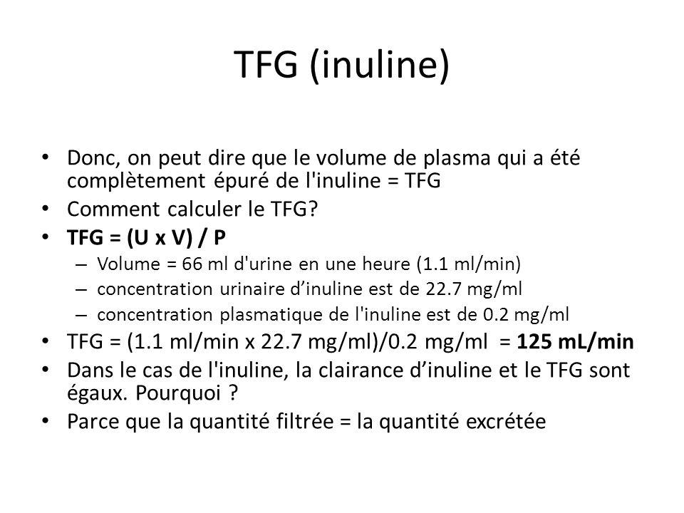 TFG (inuline) Donc, on peut dire que le volume de plasma qui a été complètement épuré de l'inuline = TFG Comment calculer le TFG? TFG = (U x V) / P –