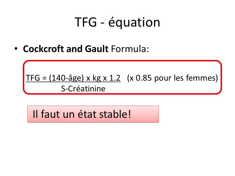 TFG - équation Cockcroft and Gault Formula: TFG = (140-âge) x kg x 1.2 (x 0.85 pour les femmes) S-Créatinine Il faut un état stable!