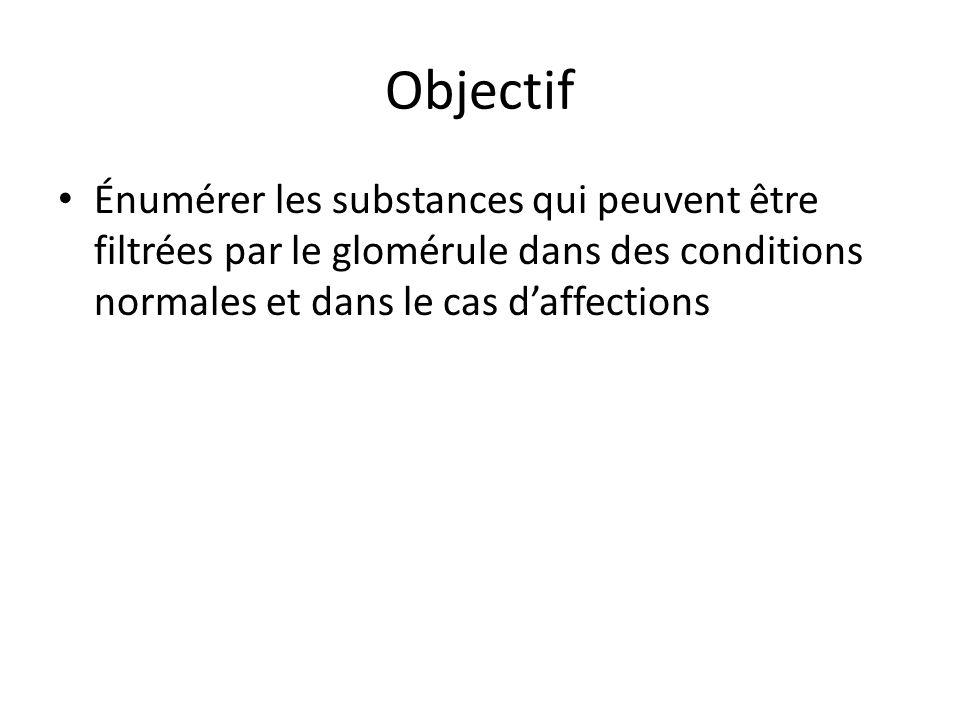 Objectif Énumérer les substances qui peuvent être filtrées par le glomérule dans des conditions normales et dans le cas daffections