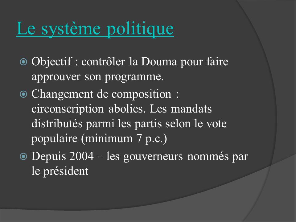 Le système politique Objectif : contrôler la Douma pour faire approuver son programme. Changement de composition : circonscription abolies. Les mandat