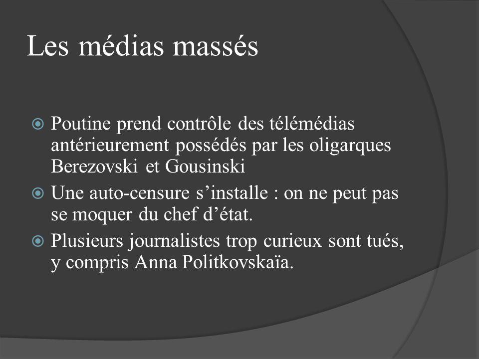 Les médias massés Poutine prend contrôle des télémédias antérieurement possédés par les oligarques Berezovski et Gousinski Une auto-censure sinstalle