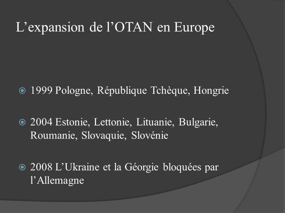 Lexpansion de lOTAN en Europe 1999 Pologne, République Tchèque, Hongrie 2004 Estonie, Lettonie, Lituanie, Bulgarie, Roumanie, Slovaquie, Slovénie 2008