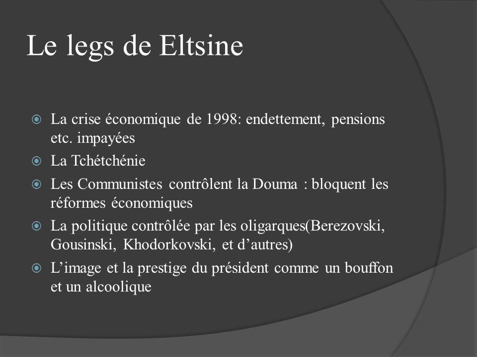 Le legs de Eltsine La crise économique de 1998: endettement, pensions etc. impayées La Tchétchénie Les Communistes contrôlent la Douma : bloquent les