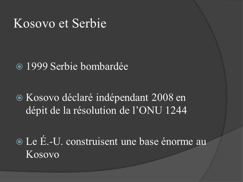 Kosovo et Serbie 1999 Serbie bombardée Kosovo déclaré indépendant 2008 en dépit de la résolution de lONU 1244 Le É.-U. construisent une base énorme au