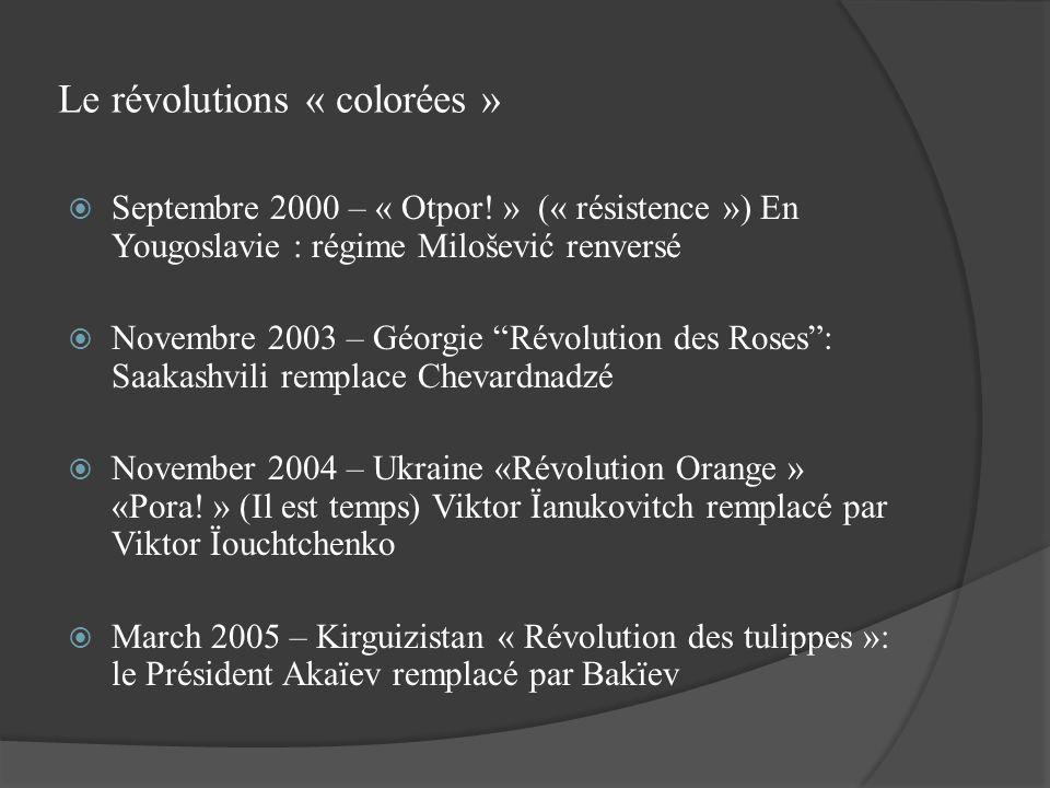 Le révolutions « colorées » Septembre 2000 – « Otpor! » (« résistence ») En Yougoslavie : régime Milošević renversé Novembre 2003 – Géorgie Révolution