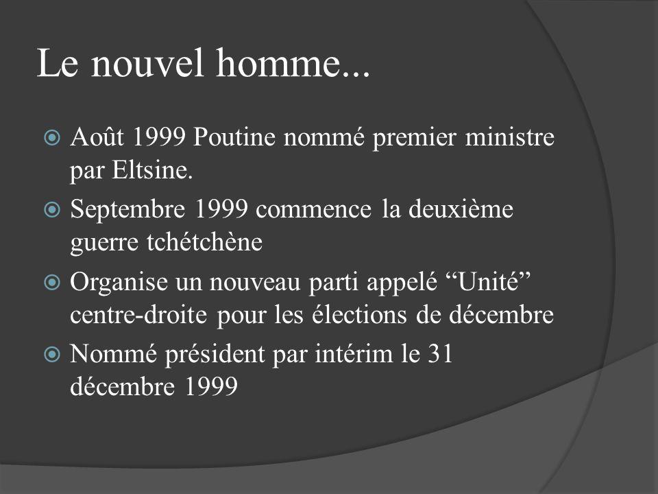 Le nouvel homme... Août 1999 Poutine nommé premier ministre par Eltsine. Septembre 1999 commence la deuxième guerre tchétchène Organise un nouveau par