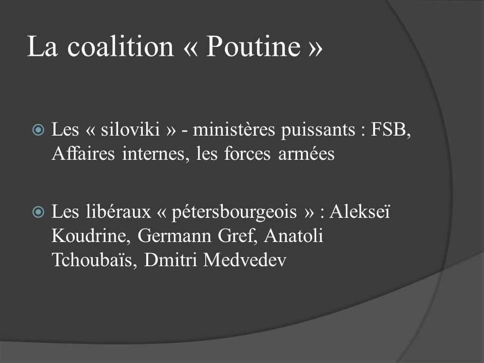 La coalition « Poutine » Les « siloviki » - ministères puissants : FSB, Affaires internes, les forces armées Les libéraux « pétersbourgeois » : Alekse