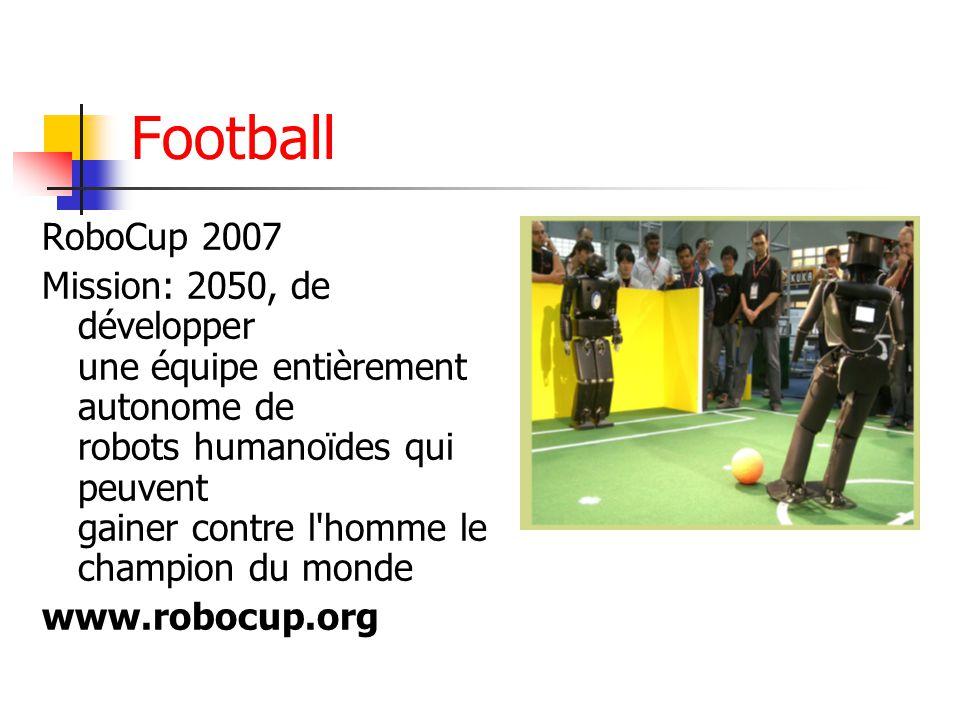Football RoboCup 2007 Mission: 2050, de développer une équipe entièrement autonome de robots humanoïdes qui peuvent gainer contre l homme le champion du monde www.robocup.org