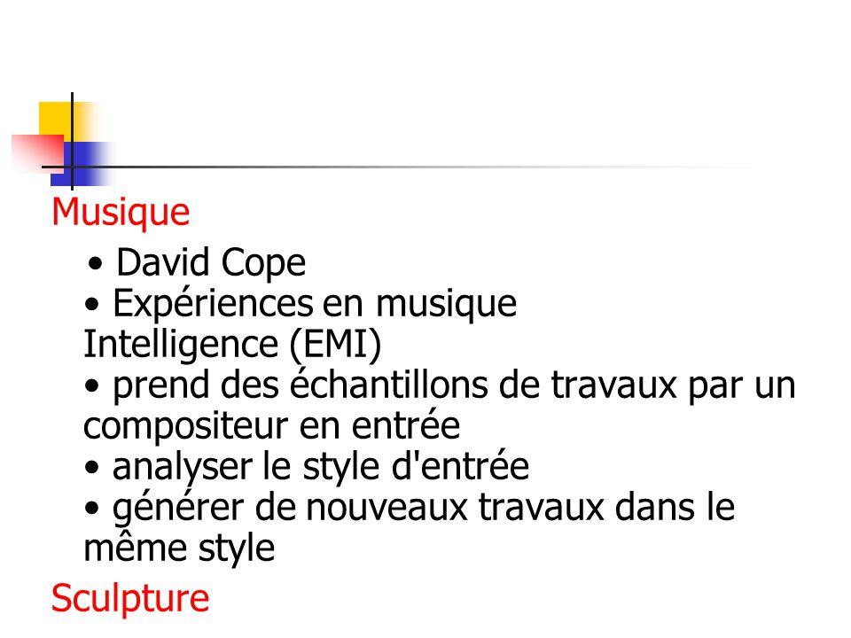 Musique David Cope Expériences en musique Intelligence (EMI) prend des échantillons de travaux par un compositeur en entrée analyser le style d entrée générer de nouveaux travaux dans le même style Sculpture