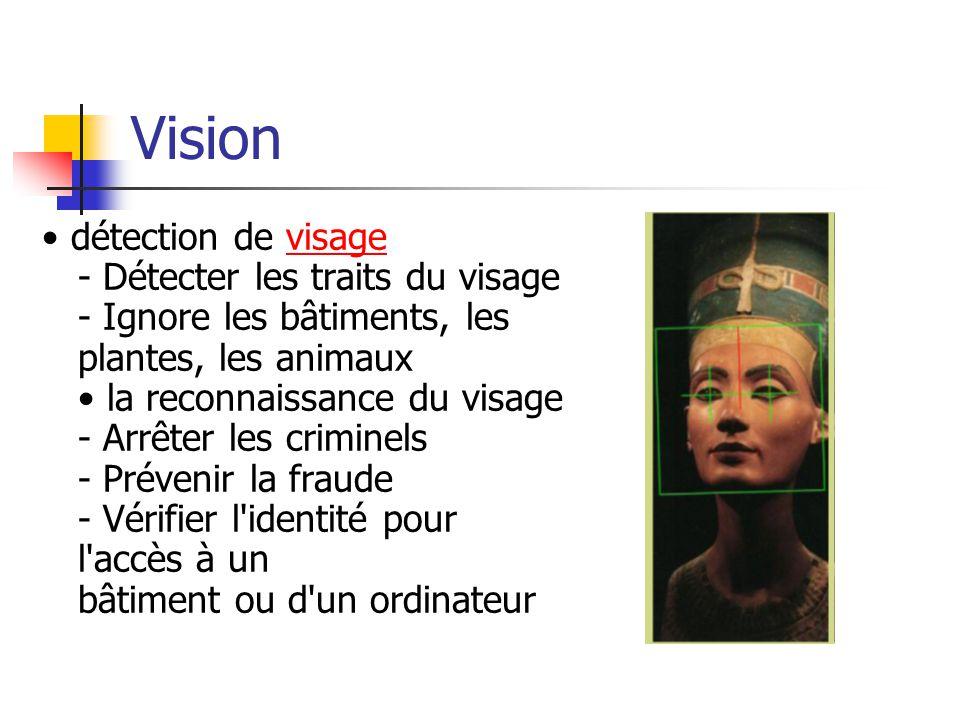 Vision détection de visage - Détecter les traits du visage - Ignore les bâtiments, les plantes, les animaux la reconnaissance du visage - Arrêter les criminels - Prévenir la fraude - Vérifier l identité pour l accès à un bâtiment ou d un ordinateurvisage