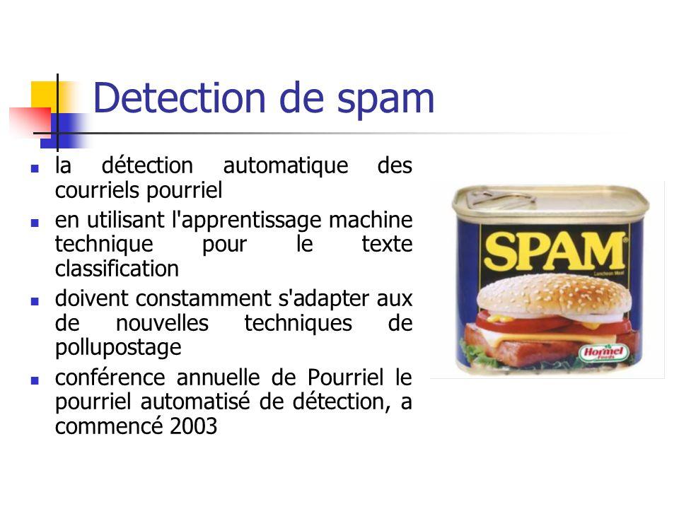 Detection de spam la détection automatique des courriels pourriel en utilisant l apprentissage machine technique pour le texte classification doivent constamment s adapter aux de nouvelles techniques de pollupostage conférence annuelle de Pourriel le pourriel automatisé de détection, a commencé 2003