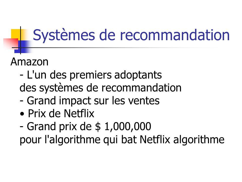 Systèmes de recommandation Amazon - L un des premiers adoptants des systèmes de recommandation - Grand impact sur les ventes Prix de Netflix - Grand prix de $ 1,000,000 pour l algorithme qui bat Netflix algorithme