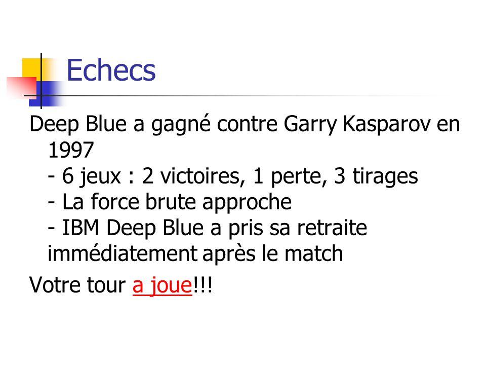 Echecs Deep Blue a gagné contre Garry Kasparov en 1997 - 6 jeux : 2 victoires, 1 perte, 3 tirages - La force brute approche - IBM Deep Blue a pris sa retraite immédiatement après le match Votre tour a joue!!!a joue