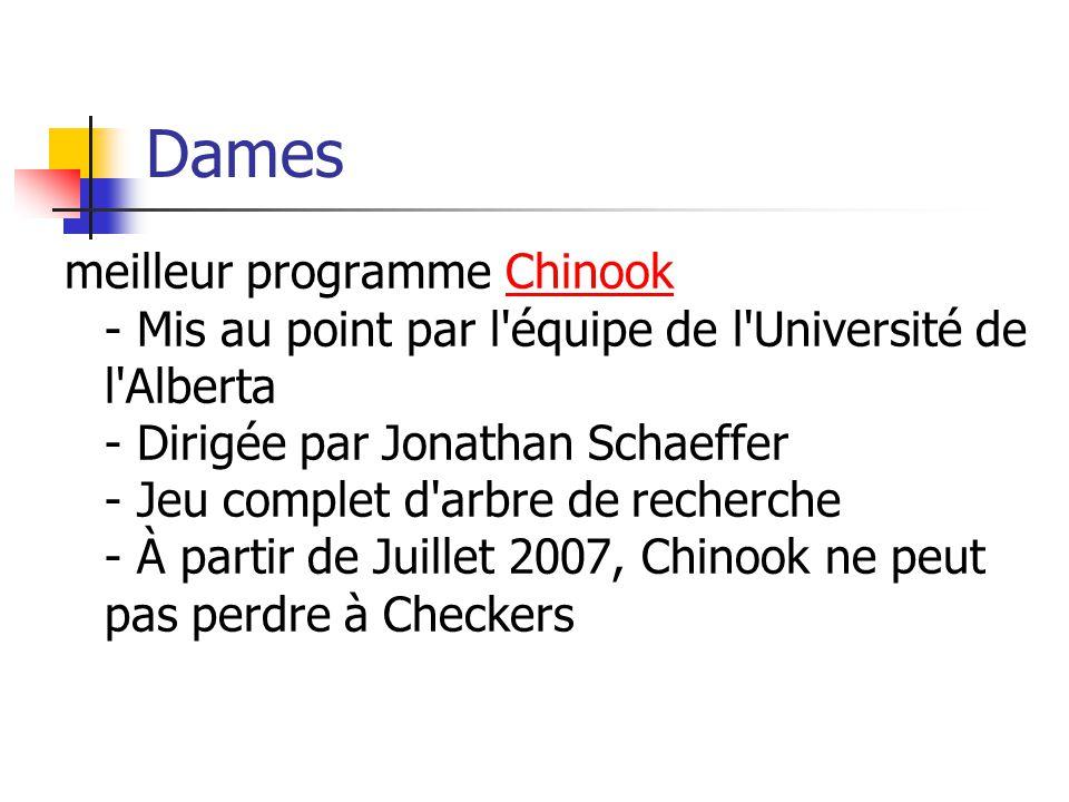 Dames meilleur programme Chinook - Mis au point par l équipe de l Université de l Alberta - Dirigée par Jonathan Schaeffer - Jeu complet d arbre de recherche - À partir de Juillet 2007, Chinook ne peut pas perdre à CheckersChinook