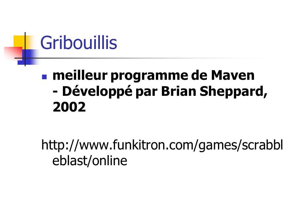 Gribouillis meilleur programme de Maven - Développé par Brian Sheppard, 2002 http://www.funkitron.com/games/scrabbl eblast/online