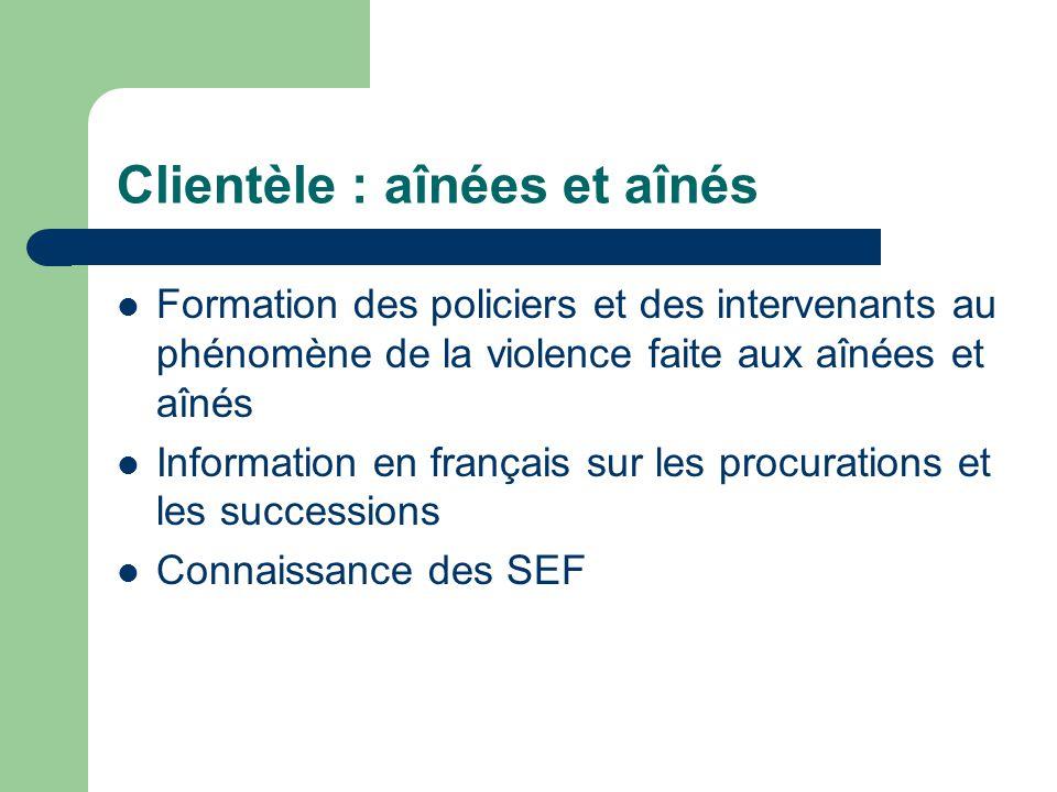 Clientèle : aînées et aînés Formation des policiers et des intervenants au phénomène de la violence faite aux aînées et aînés Information en français