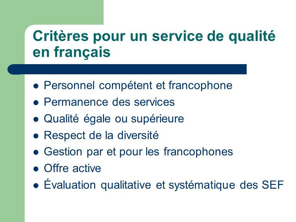 Critères pour un service de qualité en français Personnel compétent et francophone Permanence des services Qualité égale ou supérieure Respect de la d