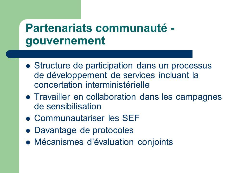 Partenariats communauté - gouvernement Structure de participation dans un processus de développement de services incluant la concertation interministé