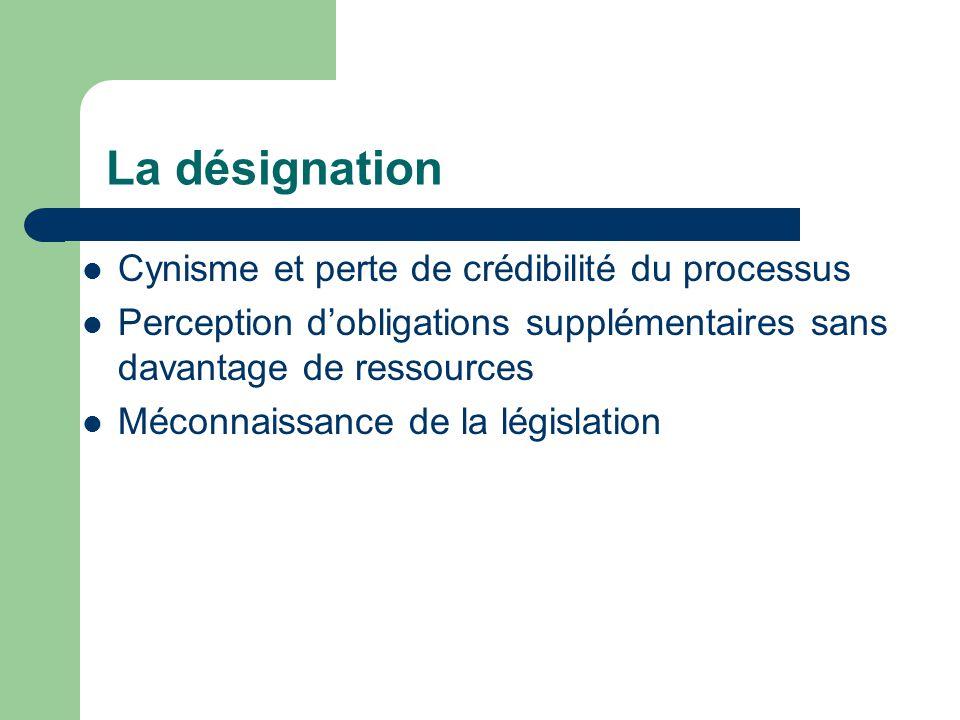 La désignation Cynisme et perte de crédibilité du processus Perception dobligations supplémentaires sans davantage de ressources Méconnaissance de la législation